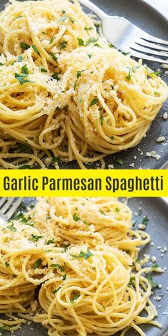 Garlic Parmesan spaghetti is a simple pasta dish that can be served as a side or. - For the love of food!Garlic Parmesan spaghetti is a simple pasta dish that can be served as a side or main dish. You can make this easy spaghetti recipe in about 1 Easy Pasta Dishes, Easy Pasta Recipes, Easy Meals, Pasta Ideas, Pasta Dishes With Chicken, Pasta Recipes For Dinner, Meatless Pasta Recipes, Dessert Recipes, Vegetarian Pasta Dishes