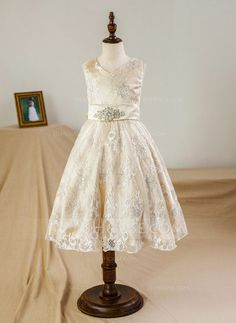 [US$ 53.99] A-Line/Princess Tea-length Flower Girl Dress - Satin/Tulle/Lace Sleeveless V-neck With Bow(s)/Rhinestone
