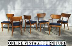 6 Heywood Wakefield 1950s Chairs vintage mid century midcentury mid-century modern dining room chair set modern arm side heywood-wakefield.  $2700 total = $450 each.  Navy upholstery.