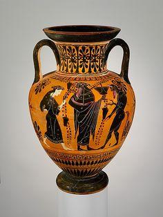 Terracotta neck-amphora (jar)  Period: Archaic Date: ca. 510 B.C. Culture: Greek, Attic