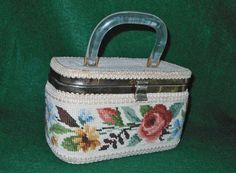 Vintage 50s Box Bag Handbag Purse Flowers Needlepoint Modern Mid Century JR Fla #jrfloridaUSA #Box