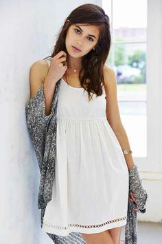 Staring At Stars Linen Babydoll Dress - Urban Outfitters