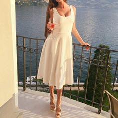 """White Midi Circle Dress  Beautiful circle dress in white features deep neckline at both front and back. Two front pockets. Fully lined bottom. Total length is 35"""". Brand new. Boutique Dresses Midi"""