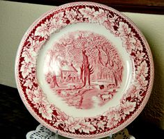 "Vintage Currier and Ives Plate Red and White Transferware ""Home Sweet Home"". $18.50, via Etsy."
