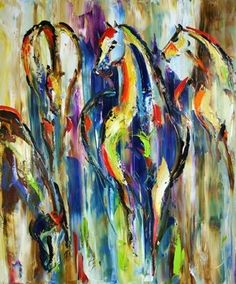 IN THE PASTURE revisited Contemporary Abstract Art Horse Oil Painting -- Laurie Justus Pace