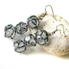 Rock crystal earrings  beaded earrings  quartz by Anabel27shop