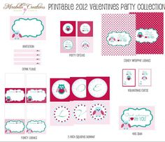 "FREE Valentine's Day Party Printables:  invitations, party circles, drink flags, tented cards, Valentine's Day cards, a 4×6 sign, candy bar wrapper labels, and an ""Owl Always Love You"" banner."