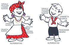 VESTIMENTA CANDOMBE PRIMARIA Education, Comics, Mayo, Molde, T Shirt Necklace, Red Bandana, White Tops, Kid Games, Boy's Day