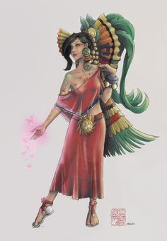 Xochiquetzal, also called Ichpochtli. Associated with concepts of fertility, beauty, and female sexual power, serving as a protector of young mothers and a patroness of pregnancy, childbirth, and the crafts practised by women such as weaving and embroidery.