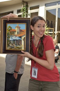 Jennifer Diehl of Oregon with her Quick Draw painting for the Laguna Plein Air Painting Invitational, October 9, 2016