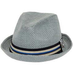 Peter Grimm Men's Paper Depp Classic Fedora Hat w/ Striped Brim, Size: Large/X-Large, Grey