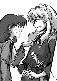 youkaiyume:  Chugging along. Have a sqaubbly Inuyasha and Kagome. Page 52 panel sketch from Chapter 8 of Raindrops.
