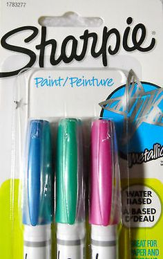 Sharpie Waterbased Paint Markers Metallic Pastel Set of 3 Extra Fine Tip 1783277