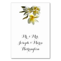 Tropical Plumeria Name Template Place Cards to fold in half.  Place a name or 2 in script font style on one half.  The hawaiian flower will show on the back, and can be removed.