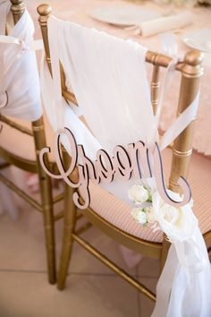 Get the Perfect Accent for Your Sweetheart Table! Bride and Groom chair signs add extra romance to any wedding sweetheart table // Handcrafted Table Signs and Event Decor, Gifts & Accessories at www.ZCreateDesign.com or ZCreateDesign on Etsy