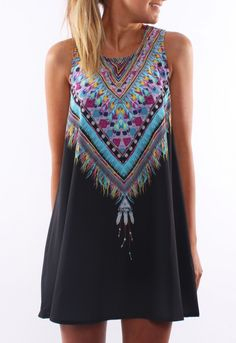 Tribal Print Chiffon Tradition Shift Black Dress 13.73