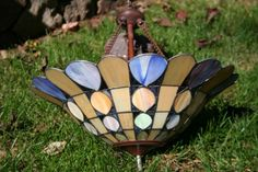 Vintage Stained Glass Drop Hanging Fixture by SORTSavvy on Etsy, $99.99