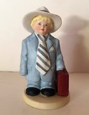 Homco Figurine Little Boy Dressed in Dad's Suit w/ Briefcase