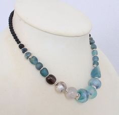 lampwork gemstones and silver necklace u0027north seau0027 blue black and silver organic design organic necklace