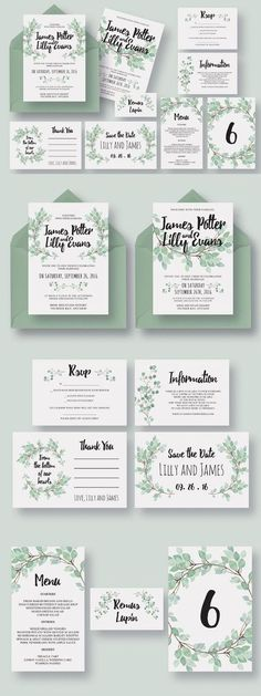 Eucalyptus Wedding Invitation Suite  >>> You can get more details here #WeddingInvitation