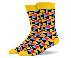 Yellow Black Pink Small Triangle Socks