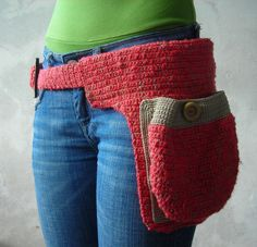 Crochet belt with bag pockets: http://www.etsy.com/listing/11312646/reserved-fo-kenzie-bag-with-pockets