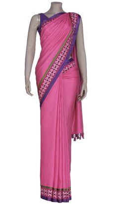 Deep Pink Embroidered and Appliquéd Silk Saree