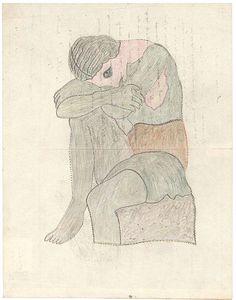 Guillaume Pujolle  sans titre, 1935  encre et crayon de couleur sur papier  27 x 21 cm  © crédit photographique  Collection de l'Art Brut, Lausanne
