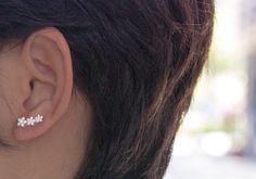 Tiny Pin Earrings, Floral Ear Jacket, Minimalist Ear Cuff, Flower Ear Sweeps, Bohemian Earrings,Constellation Earrings,White Flower Earrings