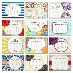 2014 calendar, desk calendar, desktop calendar, optional wooden easel, Good Frau designs