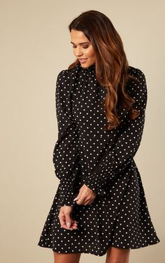 d2743375a7bb Black Polka Dot Ruffle Neck Shift Dress by Lilah Rose Polka Dot Print,  Polka Dots