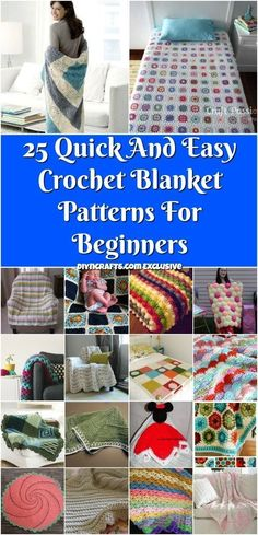 25 Quick And Easy Crochet Blanket Patterns For Beginners - Simple crocheting pro. 25 Quick And Easy Crochet Blanket Patterns For Beginners – Simple crocheting projects curated and Easy Crochet Blanket, Crochet For Beginners Blanket, Crochet Patterns For Beginners, Knitting For Beginners, Crochet Blanket Patterns, Knit Or Crochet, Crochet Baby, Knitting Patterns, Easy Patterns