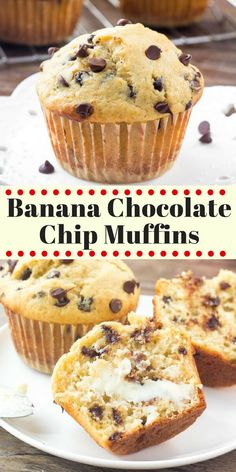 These Banana Chocolate Chip Muffins are moist fluffy buttery and filled with chocolate chips. They taste like a warm slice of banana bread and have perfectly domed golden muffin tops. - Chocolate Chip - Ideas of Chocolate Chip Muffins Chocolate Chip, Chocolate Chip Recipes, Banana Recipes, Chocolate Cake, Chocolate Banana Bread, Blueberry Recipes, Bisquick Banana Bread, Recipes With Bananas, Köstliche Desserts
