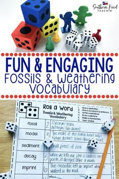 Your students will LOVE this vocabulary activity on Fossils & Weathering! Rolling the dice makes it fun and engaging, and they might even beg to play it! #vocabulary #science #sciencevocabulary #fossils #weathering #sediments
