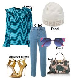 """#fashion #minifashionicon"" by minifashionicon on Polyvore featuring Fendi, Chloé and Giuseppe Zanotti"