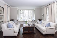 Soft Blues, Ethereal Whites & Grays: Before & After | Maria Killam The blue ceiling is BM Healing Aloe. Walls are BM Tapestry Beige.  - See more at: http://www.mariakillam.com/bluewhiteandgray/#sthash.CckRkbee.dpuf