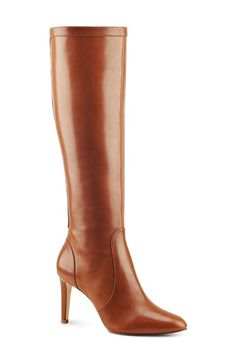 Free shipping and returns on Nine West 'Hold Tight' High Heel Boot at Nordstrom.com. A polished zipper details the back of a chic knee-high boot crafted from smooth leather. A slender high heel and almond-cut toe bring feminine grace to the polished silhouette.