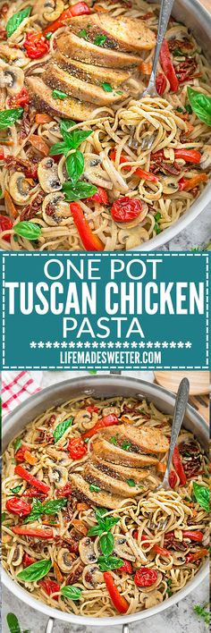 One Pot Tuscan Chicken Pasta makes the perfect easy weeknight meal. Best of all, it comes together in just 30 minutes in only ONE simple PAN / Skillet with the most flavorful and delicious flavors and bursting with sun-dried tomatoes & basil.