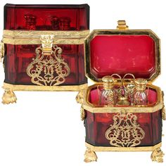 Antique French Cranberry Opaline Glass Casket, Sewing & Perfume Etui, Ormolu  $1,295.00