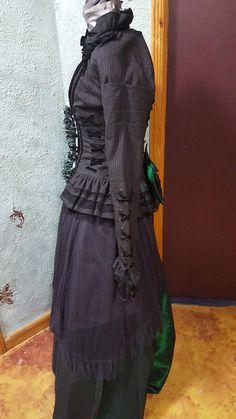 4d70d43cf8f Masquerade emerald hunter green black gown Steampunk Victorian Black Corset