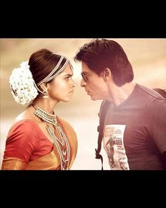 "SRK and Deepika put on a angry face. From Chennai Express, which was their second movie together, this photo still reminds us of SRK's famous dialogue from the movie ""Don't underestimate the power of a common man""."