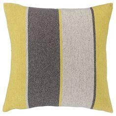 Harlequin Stripe Wool Cushion, Yellow / Grey