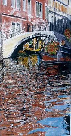 """canal accademia (1) venice  40"""" x 20"""" micheal zarowsky / watercolour on arches paper (private collection)"""