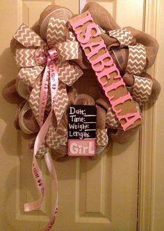 Baby Girl wreath for hanging on hospital door by CuteWreathsByHope Baby Door Wreaths, Hospital Door Wreaths, Baby Girl Wreaths, New Baby Wreath, Burlap Wreaths, Burlap Crafts, Baby Kranz, Diy Wreath, Wreath Ideas