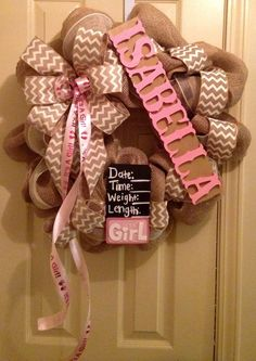 Baby Girl wreath for hanging on hospital door by CuteWreathsByHope