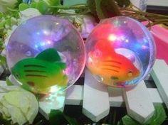 Free shipping Super flash hair-tail elastic ball cartoon bouncing ball colorful transparent crystal bouncing ball 2013(China (Mainland))