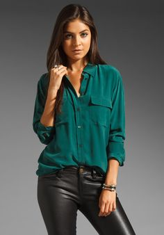 EQUIPMENT Signature Blouse in Pine at Revolve Clothing - Free Shipping!