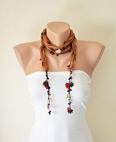 Camel Silk Necklace Oya Autumn Leaves Red Cream Crochet Flowers Necklace Foulard Scarf, Beadwork, Crochet Jewelry, ReddApple