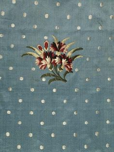 "Ever-so-pleasing sky-blue #Spitalfields silk satin ""brocaded w/ coloured sprigs of honeysuckle & carnations or gilliflowers. The silk was designed & woven by the company Batchelor, Ham & Perigal circa 1758-1762. The firm advertised itself as being 'weavers of gold and silver brocaded and flowered silk'. The dress, made in the 1770s, had been cut up before arriving at the museum..."" http://www.museumoflondon.org.uk"