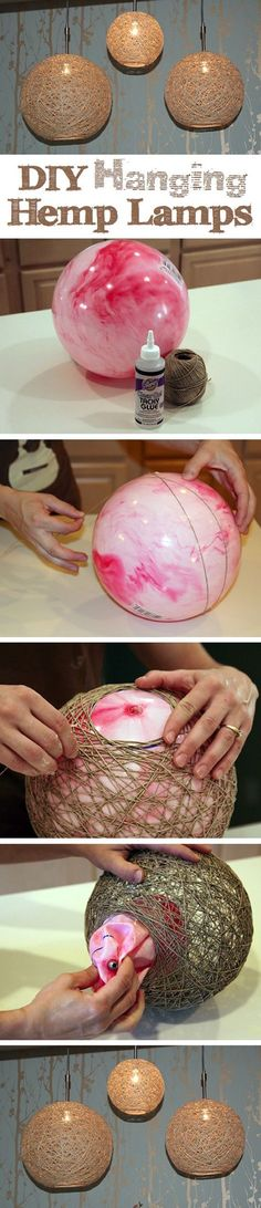 DIY Hanging Hemp Lamp is a photo craft tutorial showing how to use hemp string soaked in glue fashioned around a bouncy ball to make a pendant hanging lamp.